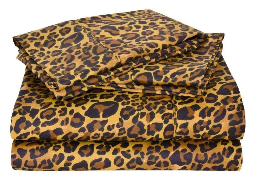 SGI bedding RV King Sheets Set - (72x80) Leopard Print 600 Thread Count Egyptian Cotton - RV Camper Sheets for Your Camper