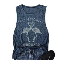 Women Majestically Flamingo Tank Top Funny Words Casual Sleeveless Cami Shirt