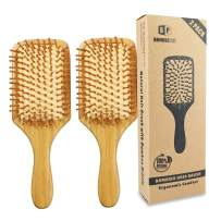 Pack of 2 Bamboo Hair Brushes, 100% Natural Eco-friendly Hair Brush with Bamboo Bristles, Massages Scalp Anti-Static Hair Detangle for All Types, Lightweight (Paddle)
