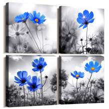 Wall art 4 Panel Modern Salon Theme Black and White Plant The Blue flower Flower Abstract Painting Still Life Canvas Wall Art for Home Decor Flower Canvas Print For Living Room Decor