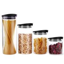 SIXAQUAE Glass Food Storage Containers Jar Plastic Lids Airtight Canister Organization Sets Stackable