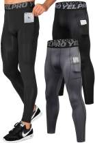 Lavento Men's Compression Pants Running Tights Leggings with Phone Pockets