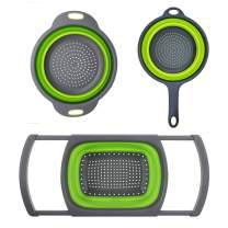 Huanlemai 3-Packs Green Silicone Kitchen Collapsible Colander Set - 6-Quart Over The Sink Collander + 4-Quart Veggies/Fruit Basket Strainers and Colanders + 2-Quart Pasta Strainer With Handle