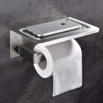SHAMANDA Toilet Paper Holder with Shelf Bathroom Tissue Paper Roll Holder RUSTPROOF, Brushed Stainless Steel, Wall Mount, PH20006-2