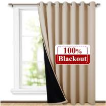 NICETOWN 100% Blackout Thermal Insulated Curtain, Noise Reducing Performance Slider Curtain Panel with Black Lining, Full Light Blocking Patio Door Drapery (1 PC, 100-inch x 95 inches, Biscotti Beige)