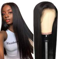 """360 Lace Front Wig, VIPbeauty 150% Density Glueless Brazilian Straight Human Hair 360 Lace Frontal Wigs Pre Plucked with Baby Hair for Black Women(24"""", Nature Color)"""