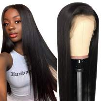 "Straight Wigs Human Hair, VIPbeauty 150% Density Glueless Brazilian Straight Remy Human Hair Lace Frontal Wig for Black Women Pre Plucked with Baby Hair(14"", Nature Color)"