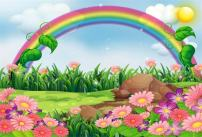 AOFOTO 5x3ft Cartoon Spring Landscape Background Abstract Rainbow Meadow Blossom Flowers Photography Backdrop Sweet Florets Sky Clouds Sunlight Rural Summer Scenery Photo Studio Props Baby Wallpaper