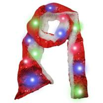 Luwint Colorful LED Flashing Scarf - Lights Up Rave Clothing Accessories Toys for Birthday Party Cosplay