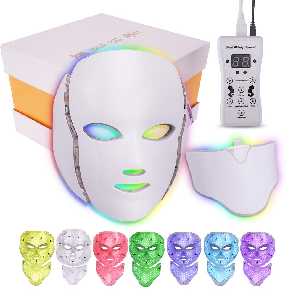 LED Colorful Face Mask& Neck Mask, Yofuly 7 Colors Professional Facial Machine for Home Use Skin Care