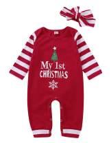 Infant Baby Girls My 1st Christmas Romper Bodysuit Stripes Headband Outfits Set