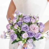 HiiARug Wedding Bouquets, Bridal Bouquet Bridesmaid Bouquet with Ribbons Artificial Rose Flower Bouquet Daisy Flower Bouquet for Wedding Party Home Decor (Purple)