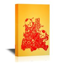 wall26 - Chinese Culture Canvas Wall Art - Chinese Paper Cutting of Kids - Gallery Wrap Modern Home Decor | Ready to Hang - 24x36 inches