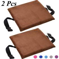 YGYQZ Memory Foam Seat Cushion, 2Pcs Thickening Car Seat/Office Chair/Dining Chairs/Wheelchair/Kitchen Chair Brown Seat Cushion with Soft Pile Fabric for Hard Surface Relieve Numbness(2pcs Brown)