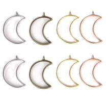 LANBEIDE Open Bezel Crescent Charms UV Resin Pendant Back Blanks for Resin Earrings Necklace Bracelet 20 PCS Moon