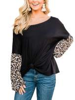 Kaei&Shi Leopard Print Tops for Women One Off-Shoulder Waffle Knit Sweatshirt Batwing Blouse Loose Pullover