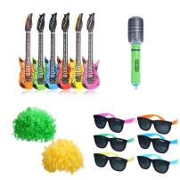 CCINEE 15pcs Rock Star Party Favor Kits Inflatable Guitars & Microphone Plastic Sunglasses and Wigs for Kids Christmas New Year Eve Party Favors Supply and Decoration