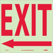 """NMC GL16P Safety Sign with Left Arrow Sign, """"EXIT"""", 10"""" Width x 10"""" Height, Pressure Sensitive Glow Vinyl, Red on White"""