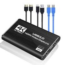 Video Capture Card USB 3.0 HDMI Game Capture-Card with HDMI Loop-Out 4K 1080P 60FPS Live Streaming Game Recorder Device for Windows Linux OBS OS X Twitch PS3 PS4 Nintendo Switch Xbox One, Xbox 360