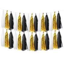 LEWOTE Tissue Paper Tassel Garland - 20pcs Tassels Per Package - 12 Inch Long Tassels(Gold/Black/White(2Pack))