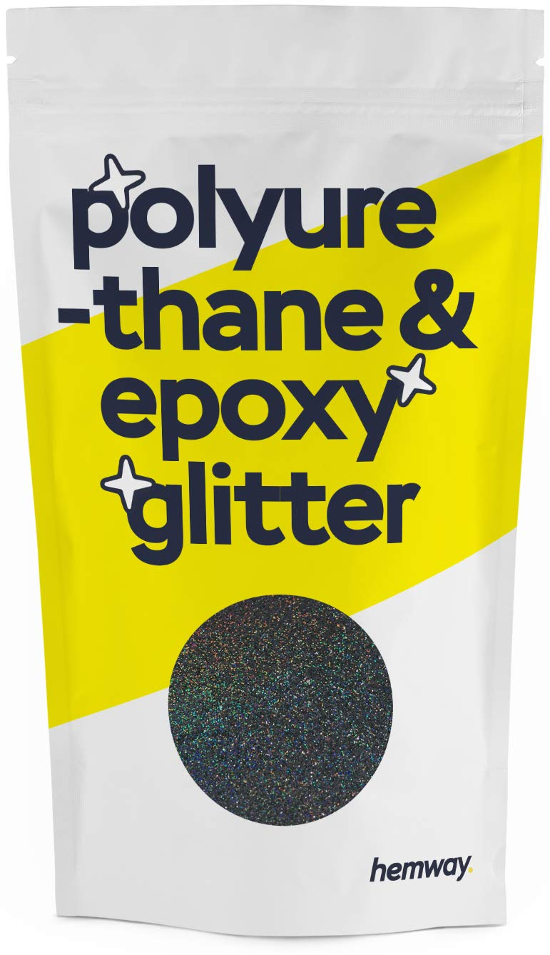 Hemway Metallic Glitter Floor Crystals for Epoxy Resin Flooring (500g) Domestic, Commercial, Industrial - Garage, Basement - Can be Used with Internal & External (Black Holographic)