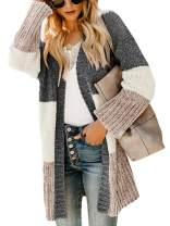 Yacooh Womens Boho Open Front Striped Knit Cardigan Sweater Lightweight Long Sleeve Coats
