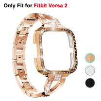 Seltureone Compatible for Fitbit Versa 2 X-Shaped Rhinestone Metal Jewelry Band with Diamand PC Case, Stainless Steel Replacement Wristband Versa2 Smart Fitness Watch for Women, Rose Gold