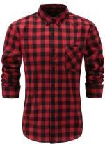 Emiqude Men's 100% Cotton Slim Fit Long Sleeve Button Down Plaid Dress Shirt