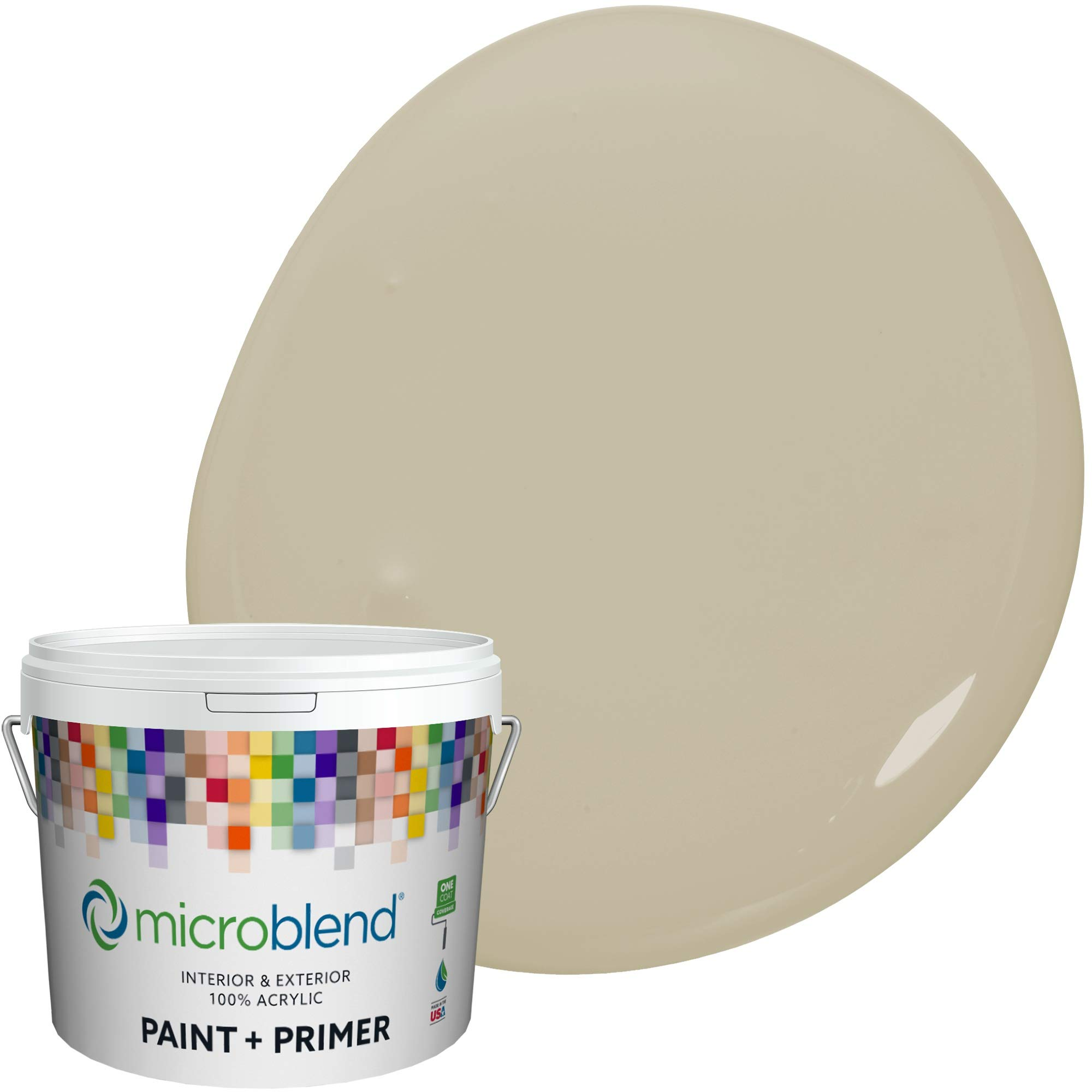 Microblend Interior Paint + Primer, Antique Sage, Semi-Gloss Sheen, 1 Gallon, Custom Made, Premium Quality One Coat Hide & Washable Paint (73241-2-M1633B3)