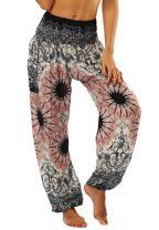 ENLACHIC Women Smocked Waist Harem Hippie Boho Yoga Palazzo Casual Loose Pants