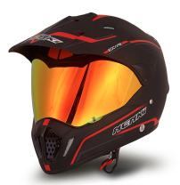 Dual Sport Helmet by NENKI Full Face Motocross & Motorcycle Helmets Dot Approved With Iridium Red Visor Attached Clear Visor NK-310 (M, Matt Black & Red)