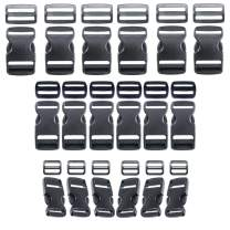 36 Piece Buckle and Tri-Glide Slide Kits - Side Release Plastic Buckles and Webbing Slider Tri-Glide Clip - 3/4-Inch, 1-Inch, and 1 1/2-Inch Sizes - Black