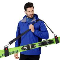 GREENEVER Ski Strap,Ski Carrier,Ski Straps and Pole Carrier,Ski Carrier Strap to Free Your Hands and Transport Your Ski Gear Everywhere You Go - Great for Families-Adults and Kids- Ski Carriers