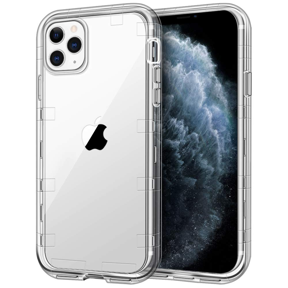 "iPhone 11 Pro Max Case, Anuck Crystal Clear Heavy Duty Defender Phone Case 3 Layer Shockproof Full-Body Protective Case Hard PC Shell & Soft TPU Bumper Cover for iPhone 11 Pro Max 6.5"" 2019 - Clear"
