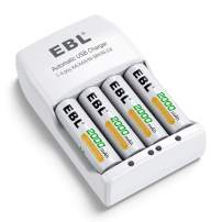 EBL Rechargeable AA Batteries 2000mAh (4 Pack) and Rechargeable Battery Charger for Ni-MH/Ni-CD AA AAA Rechargeable Batteries