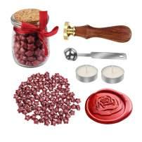 MyLifeUNIT Rose Wax Seal Stamp Kit for Wedding, Retro Envelop Wax Sealing Set (Red)