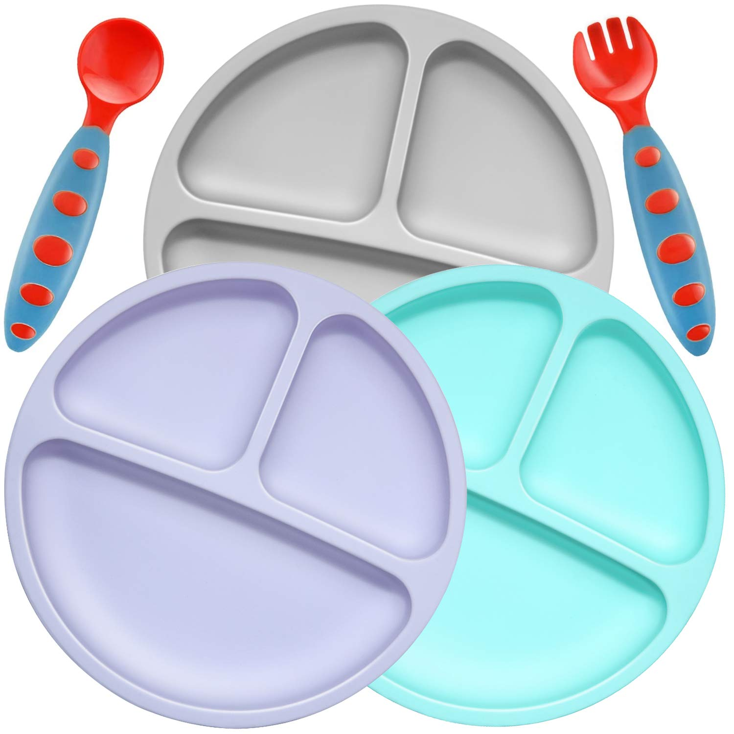 PandaEar Divided Unbreakable Silicone Baby and Toddler Plates - 3 Pack - Non-Slip (NO Suction) Dishwasher and Microwave Safe Silicone Blue Purple Grey