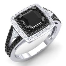 Dazzlingrock Collection 1.45 Carat (ctw) Black & White Diamond Bridal Halo Style Engagement Ring 1 1/2 CT, Sterling Silver