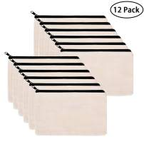 12 Packs 8 x 6 Inches Blank Makeup Bags Cotton Canvas Pencil Pouches with Zipper Multi-Purpose Travel Toiletry Bag