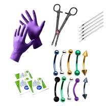 BodyJewelryOnline 20-Piece Eyebrow & Ear Cartilage Piercing Kit - 10 Curved Barbells, Gloves + More