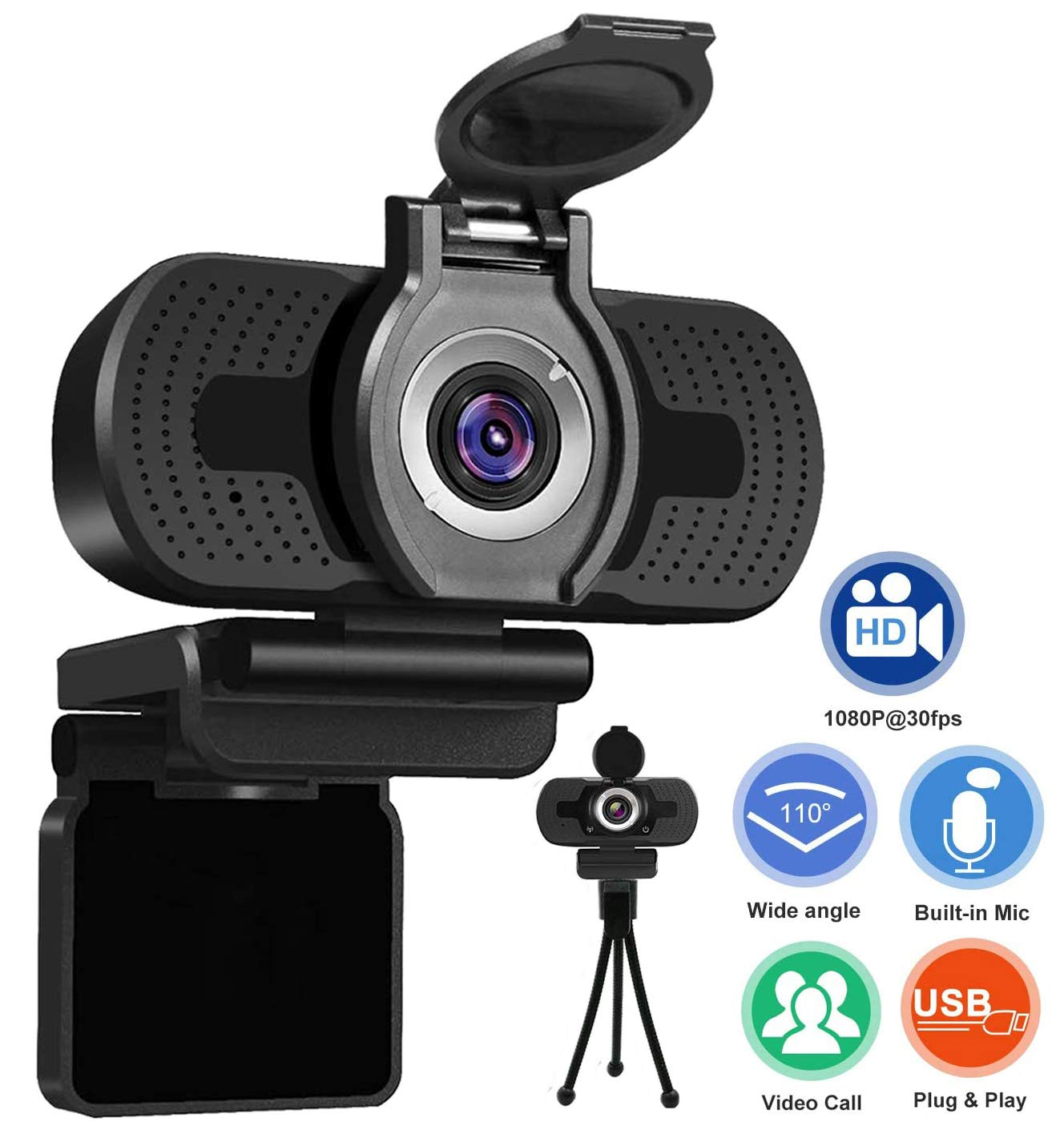 Xinidc Full 1080P HD Webcam Built-in Microphone Camera USB Webcam for Laptops and Desktop External Wired Live Streaming Web Camera with Privacy Cover and Tripod for Skype You Tube