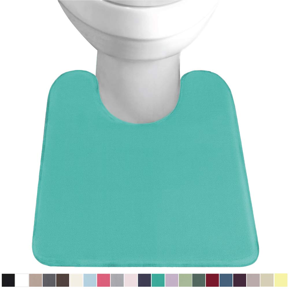 GORILLA GRIP Original Thick Memory Foam Contoured Toilet Bath Rug 22.5x19.5, U Shape, Soft Cushion Floor Mats, Absorbent Cozy Bathroom Mat Rugs, Machine Wash and Dry, Plush Bath Room Carpet, Turquoise