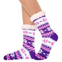 Women's Fleece Lining Fuzzy Soft Christmas Crew Stockings Slipper Socks