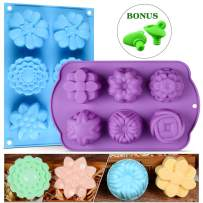 Flower Assorted Silicone Molds for Candy,Tart, Ice Cube Tray, Handmade Jelly, Soap, Pudding, Muffin, Cupcake