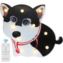 Animal Dog Marquee Sign - Remote Timer Control Dog Puppy Night Lights - Dimmable LED Bedside Lamp for Children and Kid's Room
