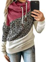 Women's Long Sleeve Casual Leopard Tops Relaxed Fit Pullover Hooded Sweatshirts