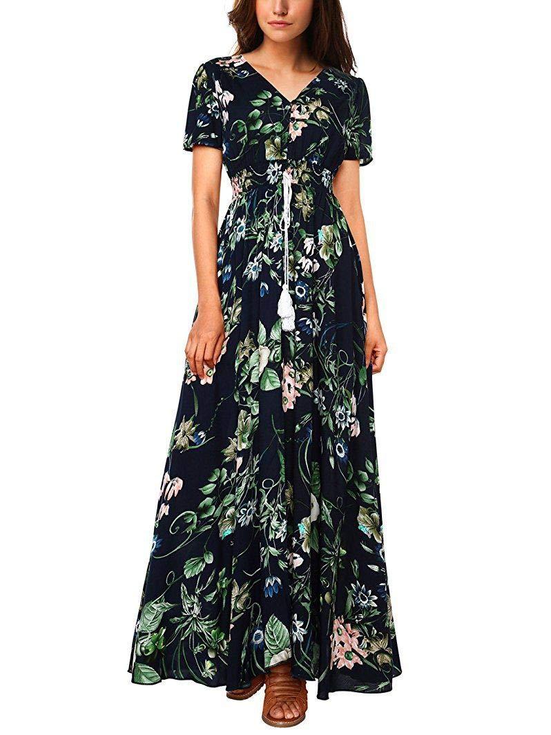 Phonallo Women's Maxi Dresses Boho Floral V-Neck Button Summer Beach Party Dress