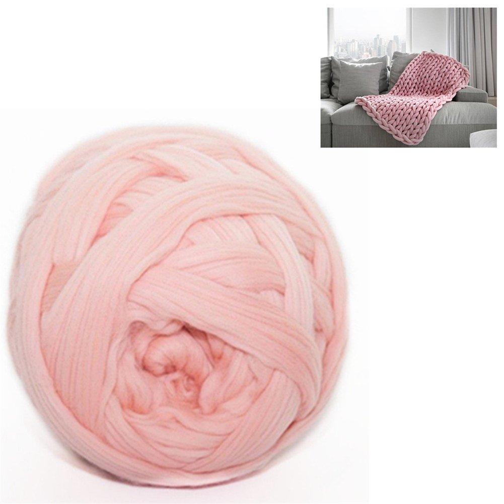 Giant Wool Yarn Chunky Arm Knitting Super Soft Wool Yarn Bulky Wool Roving (1kg/2.2 lbs, Pink)