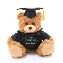 Plushland Plush Stuffed Animal Toys 12 Inches Present Gifts for Graduation Day, Personalized Text, Name or Your School Logo on Gown, Best for Any Grad School Kids (Black Gown)