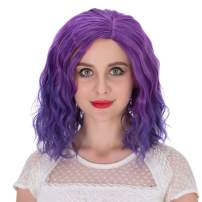 Alacos Fashion 35cm Short Curly Full Head Wig Heat Resistant Daily Dress Carnival Party Masquerade Anime Cosplay Wig +Wig Cap (Purple Ombre)